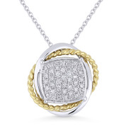 0.28ct Round Cut Diamond Pave Pendant & Chain Necklace in 14k Yellow & White Gold - AM-DN4995