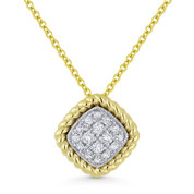 0.18ct Round Cut Diamond Pave Pendant & Chain Necklace in 14k Yellow & White Gold - AM-DN5139