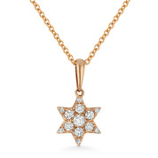 0.15ct Round Cut Diamond Star of David Pendant & Chain Necklace in 14k Rose Gold - AM-DN5111
