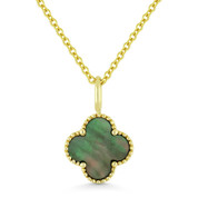 0.53ct Black Mother-of-Pearl 4-Petal Flower Charm Pendant & Chain Necklace in 14k Yellow Gold - AM-N1005BMOPY