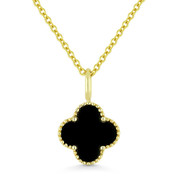 0.48ct Black Onyx 4-Petal Flower Charm Pendant & Chain Necklace in 14k Yellow Gold - AM-N1005BOY