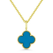 0.39ct Turquoise 4-Petal Flower Charm Pendant & Chain Necklace in 14k Yellow Gold - AM-N1005TQY