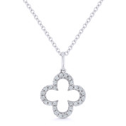 0.11ct Round Cut Diamond Open Flower Charm Pendant & Chain Necklace in 14k White Gold - AM-N1010W