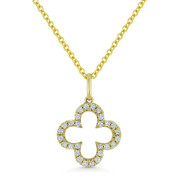 0.11ct Round Cut Diamond Open Flower Charm Pendant & Chain Necklace in 14k Yellow Gold - AM-N1010Y