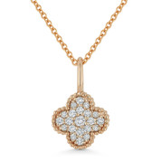 0.17ct Round Cut Diamond 4-Petal Flower Charm Pendant & Chain Necklace in 14k Rose Gold - AM-N1001P