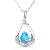 1.08ct Trillion Cut Blue Topaz & Diamond Open Pendant & Chain Necklace in 14k White Gold - AM-N1045BTW