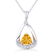 0.70ct Trillion Cut Citrine & Diamond Open Pendant & Chain Necklace in 14k White Gold - AM-N1045CTW