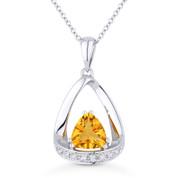 0.70ct Trillion Cut Citrine & Diamond Open Pendant & Chain Necklace in 14k White Gold - AM-N1045CTW