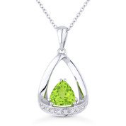 0.99ct Trillion Cut Peridot & Diamond Open Pendant & Chain Necklace in 14k White Gold - AM-N1045PRW
