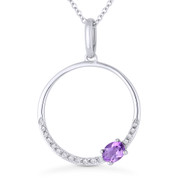 0.23ct Oval Cut Amethyst & Diamond Open Circle Pendant & Chain Necklace in 14k White Gold - AM-DN5391