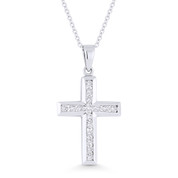 0.27ct Round Cut Diamond Cross Pendant in 18k White Gold w/ 14k Gold Chain Necklace - AM-DP6157