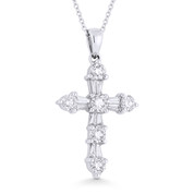 1.07ct Round & Baguette Cut Diamond Cross Pendant in 18k White Gold w/ 14k Chain - AM-DP2215