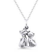Cuddling Cat Charm Pendant & Cable Chain Necklace in Oxidized .925 Sterling Silver -  ST-FP001-SLO