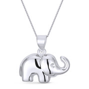 Elephant 2-Sided Animal Charm Pendant & Cable Link Chain Necklace in .925 Sterling Silver - ST-FP002-SLP
