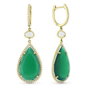 10.99ct Green Agate, White Topaz, & Round Cut Diamond Dangling Earrings in 14k Yellow Gold - AM-DE10545