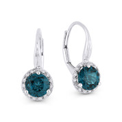 1.73ct London-Blue Topaz & Diamond Leverback Baby Earrings in 14k White Gold - AM-DE11862