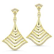 0.33ct Round Cut Diamond Dangling Statement Earrings in 14k Yellow Gold - AM-DE9135