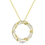 0.74 ct Diamond Cluster Double-Circle Pendant & Chain Necklace in 14k Yellow Gold - AM-DN4888