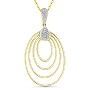 0.07 ct Round Cut Diamond Multi-Oval Pendant & Chain Necklace in 14k Yellow & White Gold - AM-DN4909