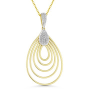 0.11 ct Round Cut Diamond Tear-Drop Pendant & Chain Necklace in 14k Yellow & White Gold - AM-DN4910