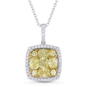 1.87ct Yellow & White Diamond Cluster Pendant in 18k Yellow & White Gold w/ 14k Chain Necklace - AM-DN5034