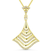0.21ct Round Cut Diamond Statement Pendant & Chain Necklace in 14k Yellow Gold - AM-DN5071