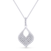 0.22 ct Round Cut Diamond Pave Marquise-Shape Pendant & Chain Necklace in 14k White Gold - AM-DN5074