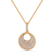 0.20 ct Round Cut Diamond Pave Circle Pendant & Chain Necklace in 14k Rose Gold - AM-DN5076