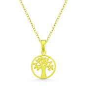 Tree-of-Life Charm Pendant & Chain Necklace in .925 Sterling Silver w/ 14k Gold Plating - ST-FP031-SLY