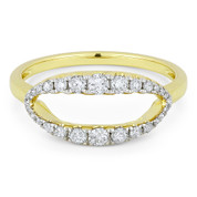 0.35ct Round Cut Diamond Open-Oval & Ball-Bead Band Right-Hand Ring in 14k Yellow & White Gold - AM-R1129Y