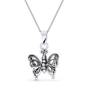 Butterfly Animal Charm Antique-Style Pendant & Chain Necklace in Oxidized .925 Sterling Silver - ST-FP012-SLO