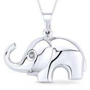 Elephant Animal Charm Pendant & Cable Link Chain Necklace in .925 Sterling Silver - ST-FP036-SLP