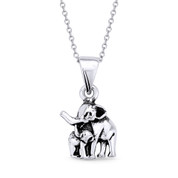 Mother & Baby Elephant Motherhood Charm Pendant & Cable Link Chain Necklace in Oxidized .925 Sterling Silver - ST-FP050-SLO