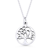 Tree-of-Life Charm Circle Pendant & Chain Necklace in .925 Sterling Silver - ST-FP052-SLP
