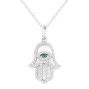 0.17ct Round Cut Diamond Hamsa Hand Evil Eye Charm Pendant in 14k White Gold w/ Chain Necklace