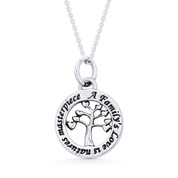 Tree-of-Hearts Charm Circle Pendant & Chain Necklace in .925 Sterling Silver - ST-FP053-SLP