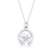 4-Leaf Shamrock Irish Luck Charm Pendant & Cable Chain Necklace in .925 Sterling Silver - ST-FP057-SLP