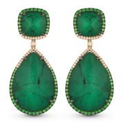 Emerald, Green Garnet, & Diamond Dangling Earrings in 14k Rose & Black Gold - AM-DE11010