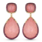 Pink Sapphire & Diamond Dangling Earrings in 14k Rose & Black Gold - AM-DE11013