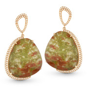 Jasper & Diamond Dangling Earrings in 14k Rose Gold - AM-DE10998