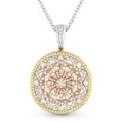 Round Cut Diamond Fashion Pendant in 14k Yellow, White, & Rose Gold w/ 14k White Chain - AM-DN4604