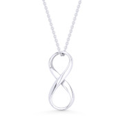 Infinity Symbol / Figure 8 Charm Pendant & Cable Chain Necklace in .925 Sterling Silver - ST-FP059-SLP