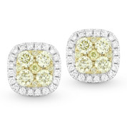Yellow & White Diamond Pave Cluster & Halo Stud Earrings in 2-Tone 14k Gold - AM-DE10605