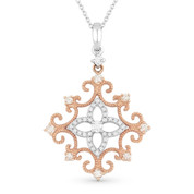 0.32ct Round Cut Diamond Vintage-Style Pendant & Chain in 14k Rose & White Gold - AM-DN4602