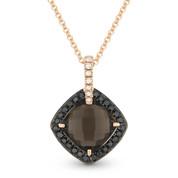 Smoky Topaz, Black Diamond, & White Diamond Halo Pendant in 14k Rose & Black Gold - AM-DP4500