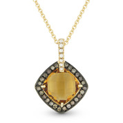 2.14ct Citrine, Brown Diamond, & White Diamond Halo Pendant in 14k Yellow & Black Gold - AM-DP4501