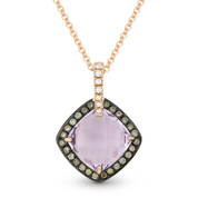 Pink Amethyst, Brown Diamond, & White Diamond Halo Pendant in 14k Rose & Black Gold - AM-DP4498