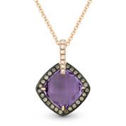 Purple Amethyst, Brown Diamond, & White Diamond Halo Pendant in 14k Rose & Black Gold - AM-DP4499