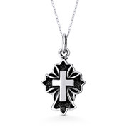 St. Thomas & Latin Cross Pendant & Chain Necklace in Oxidized .925 Sterling Silver - ST-CP008-SLO