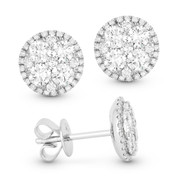 Round Brilliant Cut Diamond Pave Cluster & Halo Stud Earrings in 18k White Gold - AM-DE11072